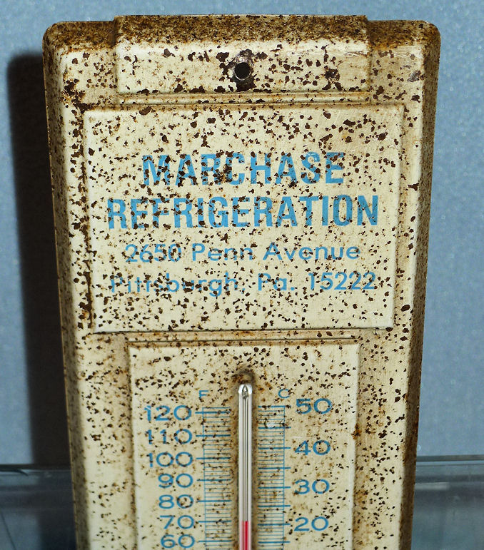 NOS VINTAGE METAL CAVALIER FIAT ADVERTISING THERMOMETER